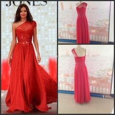 2014 New Arrival Fashion One-Shoulder Chiffon Beads Sparkle Red Long Evening Dresses $138.00