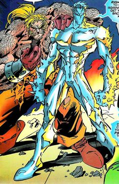 Thanks to Joe Madureira art and costume design in Age of Apocalypse I like this character even more: Iceman and Sabretooth Iceman Marvel, Sabretooth Marvel, Marvel Comic Universe, Comics Universe, Marvel Comics, Comic Book Characters, Marvel Characters, Comic Books Art, Book Art
