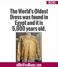 The World's Oldest Dress was found in Egypt and it is years old. Wtf Fun Facts, True Facts, Interesting History, Interesting Facts, Useless Knowledge, Did You Know Facts, The More You Know, Hemp Oil, Cool Stuff