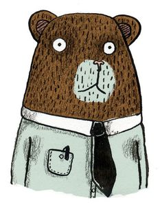 brown bear in a tie . by Matt the illustrator Children's Book Illustration, Character Illustration, Bear Art, Coraline, 3d Character, Cute Characters, Illustrators, Images, Cartoon