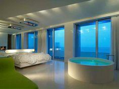 ★★★★★ i-Suite Hotel, Rimini, Italia Trendy Bedroom, Modern Bedroom, Bedroom Decor, Summer Bedroom, Design Hotel, House Design, Open Baths, Romantic Bath, Romantic Bedrooms