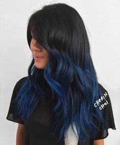 Black Hair With Blue Balayage Highlights