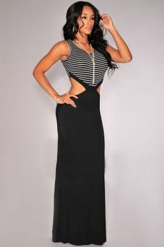 Sleeveless Trendy Black Striped Open Cut-Out Maxi Dress