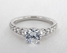 14K White Gold Cut Down Pave Diamond Engagement Ring | The perfect tapered pave…