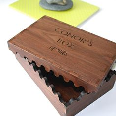 Personalised engraved interlocking wooden box. Gift for men. One tidy studio.