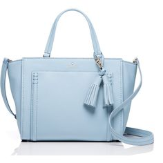 Kate Spade Orchard Street Dillon ($257) ❤ liked on Polyvore featuring bags, handbags, satchel handbags, tassel handbags, kate spade satchel, blue satchel and kate spade bags