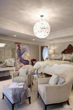 Elizabeth Kimberly Design - bedrooms - elegant bedroom, bedroom sitting area, dandelion pendant, tufted chairs, gray tufted chairs, mirrored...
