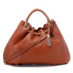 Michael Kors Pebbled Leather Ring Large Brown Drawstring Bags Ou