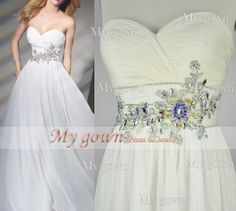 Gorgeous Beads Crystal Draped  ivory Chiffon Prom Dress by MyGown, $149.90