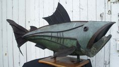 Copper fish sculpture constructed using upcycled copper sheet