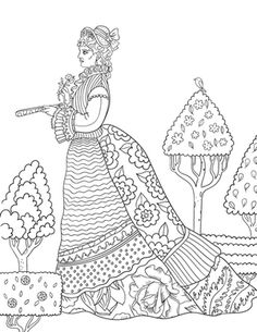 Victorian Woman Adult Coloring Page