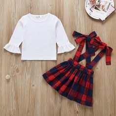 T shirt Tops Overalls Plaid Skirt Outfits Baby Set Matching Family Outfits, Cute Outfits For Kids, Toddler Girl Outfits, Baby Outfits Newborn, Kids Christmas Outfits, Baby Girl Christmas, Plaid Outfits, Skirt Outfits, Overall Skirt