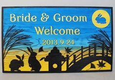 平安時代頃から貴族などの間で始まった月見の世界を表現したデザイン。 #月見 #ウェルカムボード #wood  #sign #wedding #japan