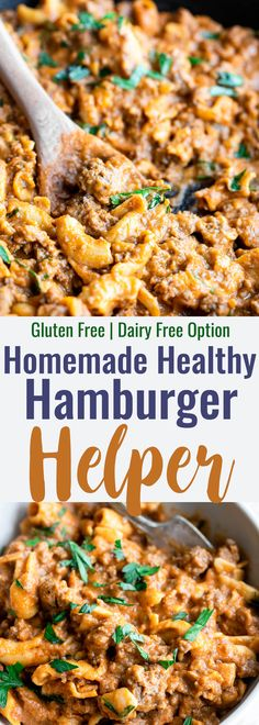 THM XO Gluten Free Homemade Healthy Hamburger Helper - A quick and easy, 30 minute meal for busy weeknights! A remake of the boxed version that is naturally gluten free, protein packed and has a dairy free option! Even picky eaters will love it! Healthy Ground Beef, Ground Beef Recipes Easy, Hamburgers, Paleo Snack, Dairy Free Options, Dairy Free Recipes For Dinner, Dairy Free Quick Meals, Dairy Free Italian Recipes, Gluten Free Dinners