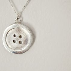 Silver Button Necklace Handmade Pendant with by TheAngryWeather