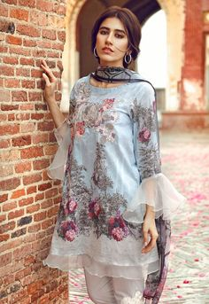 Cross Stitch Lawn. Eid collection 2017  Vol I ... Syra Sharoz. Beautiful Sleeves.