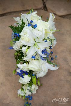 Cascading Wedding Bouquet. Blue White Green Cascading Wedding Bouquet  photo: www.meeshphotography.com