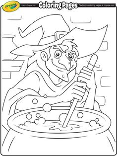 Witch and Her Cauldron Coloring Page, Halloween Coloring Page, FREE Coloring Page Template Printing Printable Halloween Coloring Pages for Kids, Halloween Halloween Coloring Pictures, Free Halloween Coloring Pages, Crayola Coloring Pages, Witch Coloring Pages, Pumpkin Coloring Pages, Coloring Pages For Kids, Free Coloring, Coloring Books, Fairy Coloring