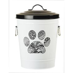 Tucker Murphy Pet This Paw Pet Food Bin is made of metal. Design incorporates a zentangle style artwork which adds a fun yet trendy look to your pet food storage bin. Bin with capacity that will hold a 17 bag of dry kibbles. Metal Storage Bins, Pet Food Storage, Food Storage Containers, Storage Ideas, Pet Food Container, Kitchen Storage, Storage Organization, Best Dog Food, Dry Dog Food