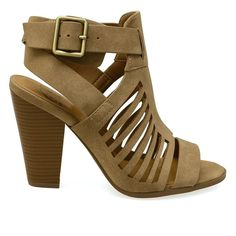 Yummy-S Taupe Caged Chunky Heel Booties
