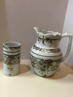 Antique Staffordshire brown transferware Bedside Pitcher And Glass