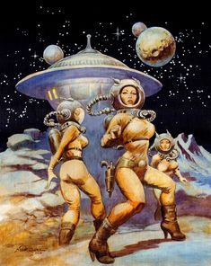 "Dedicated to all things ""geek retro:"" the science fiction/fantasy/horror fandom of the past including pin up art, novel covers, pulp magazines, and comics. Frank Frazetta, Arte Sci Fi, Sci Fi Art, Comics Illustration, Illustrations, Fantasy Kunst, Sci Fi Fantasy, Space Fantasy, Retro Futurism"