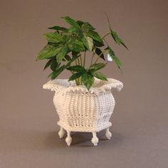 Jardiniere - $65.00 : Miniature Wicker Furniture by The Petticoat Porch, Handcrafted artisan dollhouse miniature wicker furniture