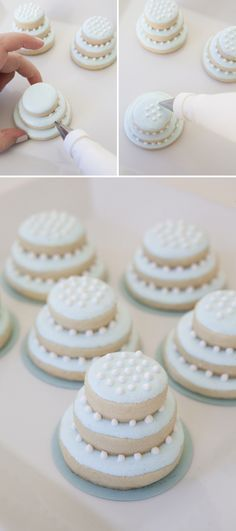 stacked wedding cake sugar cookies! ~ we ❤ this!  moncheribridals.com ~  #weddingdesserts