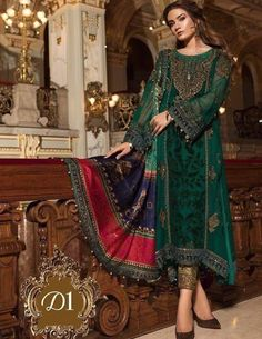 Finest embroidered dress collection by Maria b.Elegant look with Maria b dress. Pakistani Wedding Dresses, Pakistani Dress Design, Pakistani Outfits, Pakistani Designers, Indian Dresses, Maria B, Wedding Salwar Kameez, Shalwar Kameez, Salwar Suits
