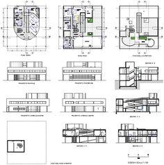 Villa Savoye drawing, Le Corbusier.