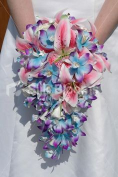 Blue+Stargazer+Lily+Wedding+Bouquets | Blue Orchid and Stargazer Lily Tropical Artificial Wedding Bridal ...