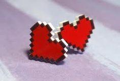 Pixel heart earings