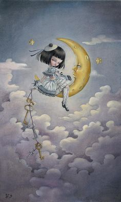 The man in the moon is smiling because he's in love with the girl in the world.