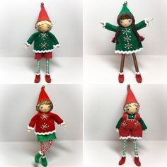 Christmas Elves.  6 inches tall.  Bendable. Handmade by www.pntdolls.com #feltdolls