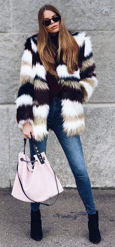#winter #fashion //  Faux Fur Striped Coat // Skinny Jeans // Black Ankle Boots // Pink Suede Shoulder Bag