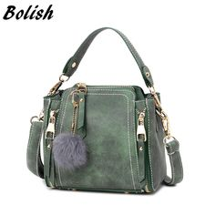 """HOT PRICES FROM ALI - Buy """"Bolish nubuck leather women handbag fashion hairball Accessories female shoulder bag /messenger bag candy color women bag"""" from category """"Luggage & Bags"""" for only USD. Leather Crossbody Bag, Leather Handbags, Crossbody Bags, Pu Leather, Pink Shoulder Bags, Side Bags, Quilted Bag, Vintage Handbags, Small Bags"""