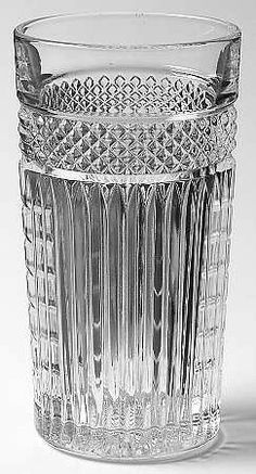 Libbey 14 Oz Flat Tumbler [TUM14] in Radiant by Libbey - Rock Sharpe Criss cross and vertical cut. Discontinued. From the 1950's.