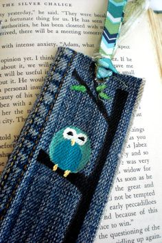 Blue, Pink, or Green Owl Hand-Painted Up-Cycled Denim Bookmarks, $12.00. Created from #recycled blue jeans.
