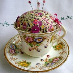 Tea cup pincushion, Been looking for the perfect pincushion for my sewing room and this is definitely it! Saucer can even be used to hold more pins.