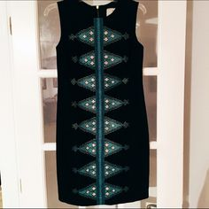 Anthropologie beaded shift dress Classic black shift dress with detailed beading in blue and teal by Tabitha. Perfect condition. Anthropologie Dresses Midi