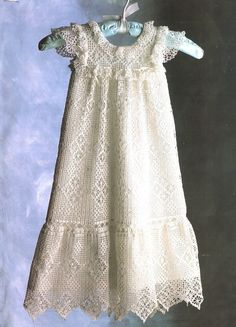 crochet christening gown patterns | Antique Baby Dress Crochet Pattern Gown Infants Lace Christening ...