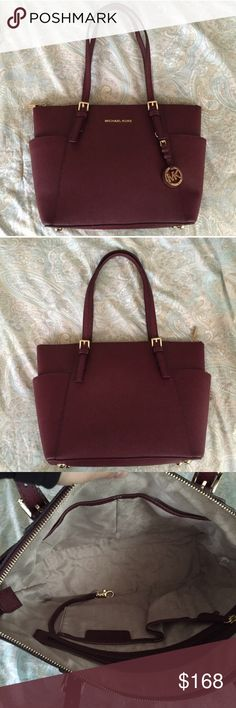 Michael Kors Jet Set Top Zip Tote Maroon Tote with gold accents. Lovely tote in awesome condition!! Many pockets and storage with zippers. No stains or rips. Please make offers :) Michael Kors Bags Totes