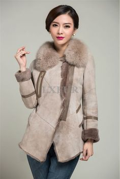New Women Genuine Sheepskin Jacket Lamb Fur Liner Sheep Leather Coat Winter Outwear Warm Overcoat Real Fur Collar Pocket AU00143