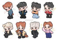 Cre: the owner/as logo Exo Fanart, Exo Stickers, 5 Years With Exo, Exo Anime, Exo Kokobop, Cute Posts, Harry Potter Fan Art, Disney Fan Art, Doodle Art