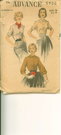 1940's Sewing Pattern  Beautiful Blouse with by shellmakeyouflip, $18.00