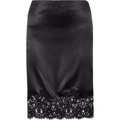 Givenchy Cotton-blend lace-trimmed silk-satin skirt (3105 TND) ❤ liked on Polyvore featuring skirts, givenchy, scallop edge skirt, givenchy skirt, silk satin camisole, scalloped skirt and knee high skirts