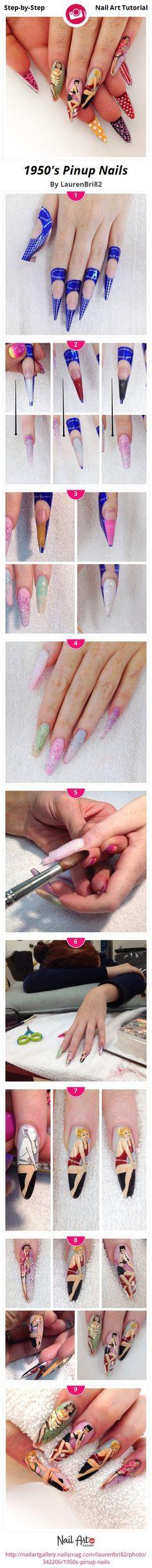 1950's Pinup Nails by LaurenBri82 - Nail Art Gallery Step-by-Step Tutorials nailartgallery.na... by Nails Magazine www.nailsmag.com #nailart