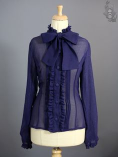 Tie bow blouse - 16 colours - Brocade chiffon - Thumbnail 1
