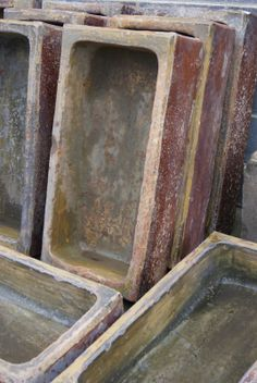 Salt glazed troughs for sale on SalvoWEB from Teesside Architectural salvage in North Yorkshire [Salvo code