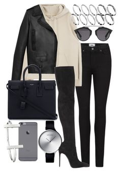 """""""Jenna"""" by bisboringx ❤ liked on Polyvore featuring Paige Denim, Christian Dior, Yves Saint Laurent, ASOS, Le Silla, French Connection and Georg Jensen"""